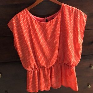 Beautiful blouse in tan and soft red color-classic